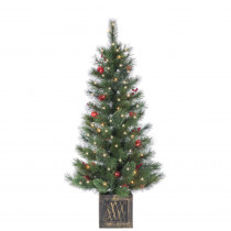 4 ft. Potted Hard Needle Cashmere Artificial Christmas Tree with 50 Clear and Red Lights
