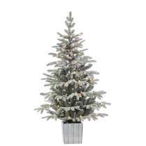 4.5 ft. Potted Lightly Flocked Natural Cut Iceland Fir Artificial Christmas Tree with 70 Clear Lights