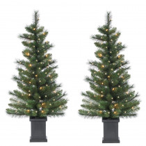 3.5 ft. Potted Hard Mixed Needle Sycamore Spruce Artificial Christmas Tree with 50 Clear Lights
