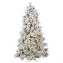 7.5 ft. Heavily Flocked Northern Pine Artificial Christmas Tree with 750 Clear Lights and 85 Warm White LED Lights