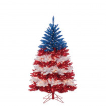 5 ft. Patriotic American Artificial Christmas Tree in Red, White and Blue with 495 Clear Lights