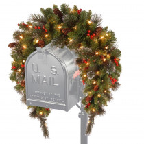 National Tree Company 3 ft. Battery Operated Crestwood Spruce Artificial Mailbox Swag with 50 Clear LED Lights