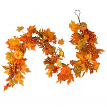 National Tree Company Harvest Accessories 70 in. Garland with Maples and Pumpkins