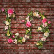 National Tree Company 72 in. Rose and Hygrangea Garland