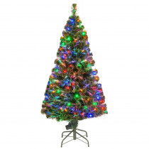 National Tree Company 5 ft. Fiber Optic LED Evergreen Artificial Christmas Tree with 150 Multi Lights in 16 in. Folding Stand