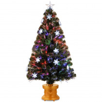 National Tree Company 4 ft. Fiber Optic Fireworks Artificial Christmas Tree with Snowflakes