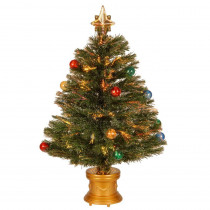 National Tree Company 2.67 ft. Fiber Optic Fireworks Artificial Christmas Tree with Ball Ornaments