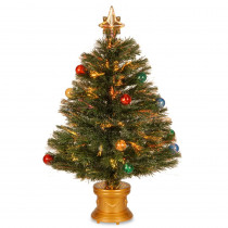 National Tree Company 2.6 ft. Fiber Optic Fireworks Artificial Christmas Tree with Ball Ornaments