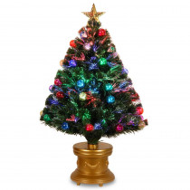 National Tree Company 36 in. Fiber Optic Fireworks Artificial Christmas Tree with Ball Ornaments