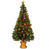 National Tree Company 5 ft. Fiber Optic Fireworks Artificial Christmas Tree with Ball Ornaments