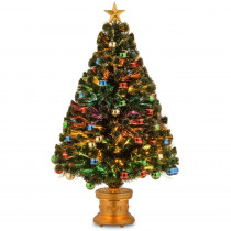 National Tree Company 4 ft. Fiber Optic Fireworks Artificial Christmas Tree with Ball Ornaments