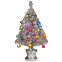 National Tree Company 2.6 ft. Silver Fiber Optic Fireworks Ornament Artificial Christmas Tree