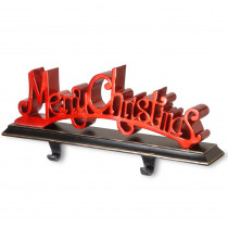 National Tree Company 18 in. Polyresin Merry Christmas Red Decor includes Base and Hooks