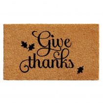 Home & More Give Thanks 17 in. x 29 in. Coir Door Mat