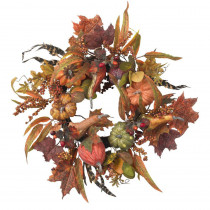 Nearly Natural 24 in. Artificial Wreath with Pumpkins, Berries, and Maple Leaves