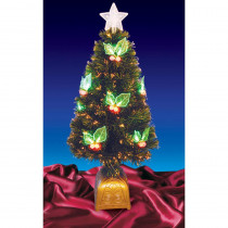 Northlight 3 ft. Pre-Lit with LED Holly Berries Fiber Optic Artificial Christmas Tree