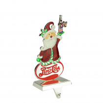Northlight 9.75 in. Christmas Silver Plated Pepsi Cola Santa Claus Stocking Holder with European Crystals