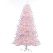 7.5 ft. Pre-Lit Incandescent Northern Fir Shiny White PVC Artificial Christmas Tree with 600 UL Clear Lights