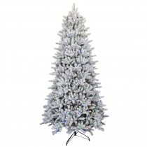 9 ft. Pre-Lit Led Flocked Balsam WRGB Artificial Christmas Tree