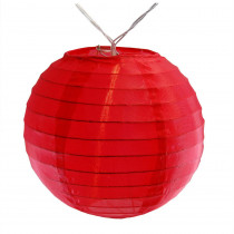 Lumabase Battery Operated Red String Light with 6 in. Nylon Lanterns (10-Count)
