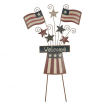 0.35 in. H Patriotic Iron Flag/Hat Yard Stake