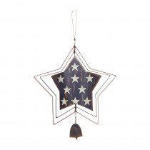 13.98 in. H Patriotic Iron Star Spinner Hanger with Doube-Sided Finish