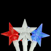 30-Light LED Red, White and Blue 4th of July Patriotic Star Lights with White Wire