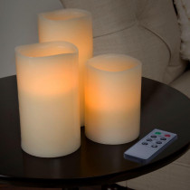 Lavish Home 6 in. H White LED Flameless Candle (3-Pack)