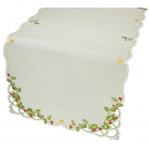 Xia Home Fashions 0.1 in. x 16 in. x 34 in. Winter Berry Collection Christmas Table Runner
