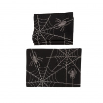 Xia Home Fashions 0.1 in. H x 20 in. W x 14 in. D Halloween Spider Web Double Layer Placemats in Black (Set of 4)