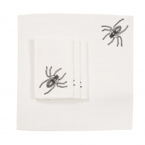 Xia Home Fashions 0.1 in. H x 20 in. W x 20 in. D Halloween Spider Web Napkins in White (Set of 4)