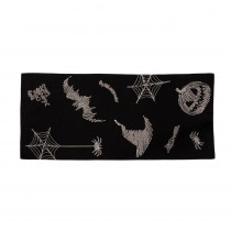 Xia Home Fashions 0.1 in. H x 16 in. W x 36 in. D Happy Halloween Double Layer Table Runner in Black