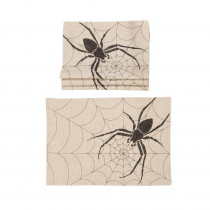 Xia Home Fashions 0.1 in. H x 20 in. W x 14 in. D Halloween Creepy Spiders Double Layer Placemats in Natural (Set of 4)