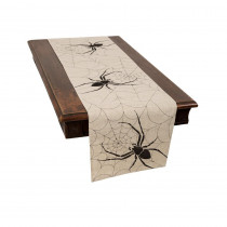 Xia Home Fashions 0.1 in. H x 15 in. W x 70 in. D Halloween Creepy Spiders Double Layer Table Runner in Natural
