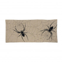 Xia Home Fashions 0.1 in. H x 16 in. W x 36 in. D Halloween Creepy Spiders Double Layer Table Runner in Natural