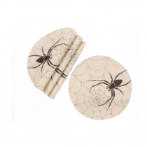 Xia Home Fashions 0.1 in. H x 16 in. W Halloween Creepy Spiders Double Layer Placemats in Natural (Set of 4)