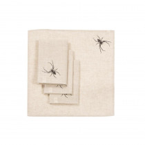 Xia Home Fashions 0.1 in. H x 20 in. W x 20 in. D Halloween Creepy Spiders Napkins in Natural (Set of 4)