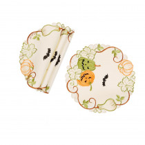 Xia Home Fashions 0.1 in. H x 12 in. W Halloween Jack-O-Lanterns Embroidered Cutwork Round Doilies (Set of 4)