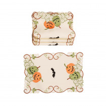 Xia Home Fashions 0.1 in. H x 19 in. W x 13 in. DHalloween Jack-O-Lanterns Embroidered Cutwork Placemats (Set of 4)