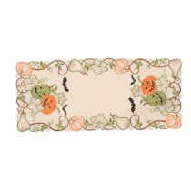 Xia Home Fashions 0.1 in. H x 15 in. W x 34 in. D Halloween Jack-O-Lanterns Embroidered Cutwork Table Runner