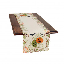 Xia Home Fashions 0.1 in. H x 15 in. W x 70 in. D Halloween Jack-O-Lanterns Embroidered Cutwork Table Runner