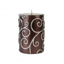 Zest Candle 3 in. x 4 in. Brown Scroll Pillar Candle Bulk (12-Case)