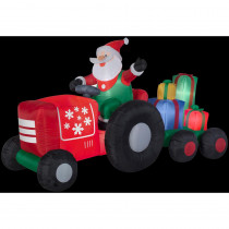 Airblown 8.5 ft. W x 4.5 ft. H Inflatable Santa on Tractor with Presents Scene