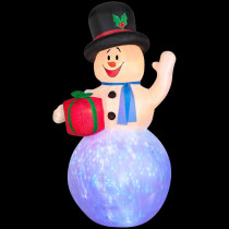Airblown 4 ft. W x 8 ft. H Inflatable Projection Kaleidoscope Snowman