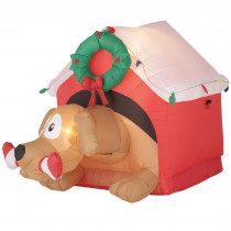 Airblown Holiday 3.7 ft. H x 3.64 ft. W Inflatable Animated Dog with Candy Cane Bone