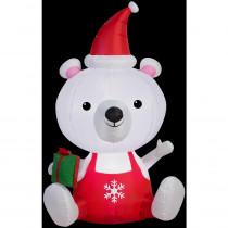 Airblown 3 ft. W x 5 ft. H Inflatable Big Head Polar Bear, Medium