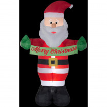 Airblown 5 ft. W x 8 ft. H Inflatable Animated Santa with Banner Merry Christmas