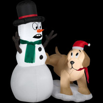 Airblown 4 ft. W x 4 ft. H Inflatable Golden Retriever with Snowman
