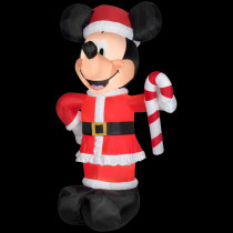 Airblown 6 ft. W x 10 ft. H Inflatable Disney Santa Mickey with Candy Cane