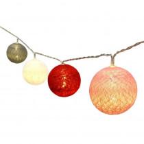Aleko 7 ft. 20-Light LED Multi-Color Cotton Balls String Light